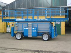 Genie GS5390 Scissor Lift - Details: Genie GS5390RT Scissor Lift, with outriggers. 53 ft Platform Height 4 x 4 drive system. This unit has been fully refurbished and is supplied with Dual slide out platforms.