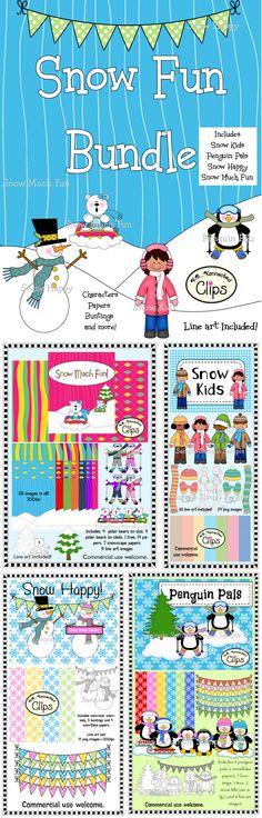 Save $ Snow Fun Bundle! (4 color products with line art included) http://www.teacherspayteachers.com/Product/Clip-Art-Snow-Fun-Bundle-4-products-1036842