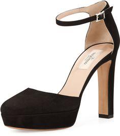 Valentino Suede Ankle-Wrap Platform Pump, Black on shopstyle.com