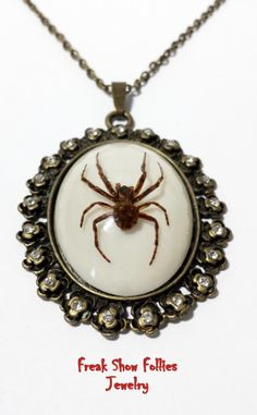 Real spider cameo necklace by FreakShowFollies on Etsy