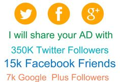 tweets_asap: share your AD with 350K Twitter 15k Facebook 7k Google real and active followers for $5, on fiverr.com