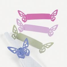 Spring wedding napkin rings orientaltrading com omg i wish i found these before your wedding i looked and looked for affordable cute ones well they were not the right color but goodness Butterfly Crafts, Butterfly Design, Butterfly Party, Napkin Folding, Wedding Napkins, Cheap Gifts, Inexpensive Gift, Kirigami, Deco Table
