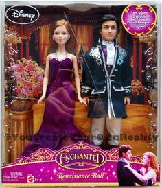 RARE 2007 Mattel Disney Enchanted Renaissance Ball Giselle & Robert Barbie Dolls