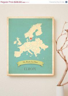 VENTE 15 % OFF choisissez votre Continent personnalisée mes racines Vintage carte Wall Art 11 x 14, décor de pépinière, cadeau de mariage, c...