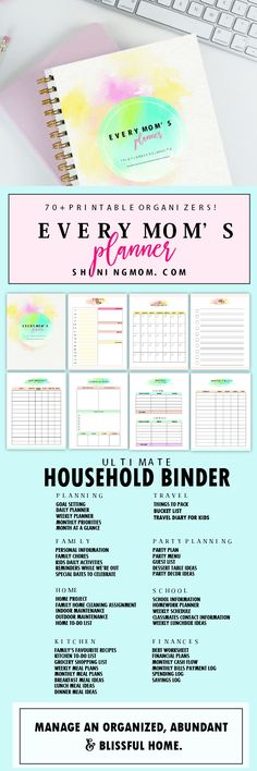 Your complete home management binder designed for every mom! Get your printable mommy planner now!