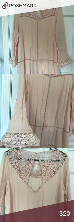 Peachy/blush dress Crocheted and lace details, gorgeous open back. Lined. Worn once! Dresses Midi