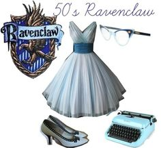 Ravenclaw- yes, I want the typewriter in my closet too. NOW. Harry Potter Dress, Harry Potter Style, Harry Potter Houses, Harry Potter Outfits, Hogwarts Houses, Harry Potter Fandom, Harry Potter World, Themed Outfits, Inspired Outfits