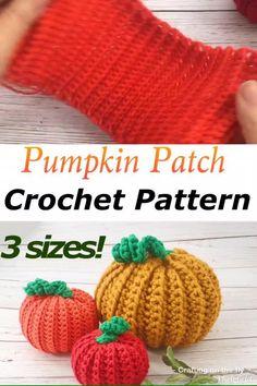 Easy Beginner Crochet Patterns, Halloween Crochet Patterns, Quick Crochet, Beginner Crochet Projects, Knitting For Beginners, Easy Knitting, Start Knitting, Crochet Pumpkin Pattern, Loom Knitting Projects