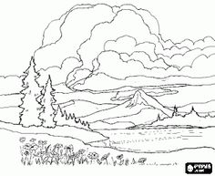 Landscape With Mountains In The Background A Spectacular Cloudy Sky Coloring Page