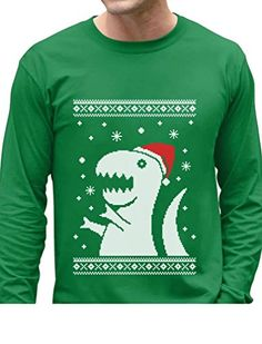 Big Trex Santa Ugly Christmas Sweater - Funny Xmas Long Sleeve T-Shirt Medium Green. Funny Ugly Xmas Men's long sleeve shirt. A must have for Christmas ugly sweater contest!. COZY, non itchy fabric. WAY BETTER than a sweater! Funny Big Rex Santa tee. Fun Christmas gift idea. Great Sweatshirt for Xmas parties! With Funny Santa Claus hat DIY Christmas photo booth prop - The perfect way to get into the holiday spirit!. 100% combed-cotton. OUTSTANDING FABRIC QUALITY! Official Teestars...