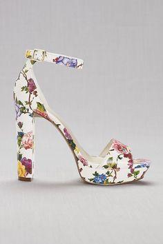 Floral Platform Heels   David's Bridal   prom shoes, flower printed heels, block heel, platform prom heel, prom accessories