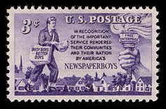 This Newspaper Boys commemorative stamp was issued through the Philadelphia, Pennsylvania, post office on October 4, 1952. A newspaper delivery boy is featured on the stamp's left, and to the right is a torch, grasped in a human hand, symbolizing free enterprise.