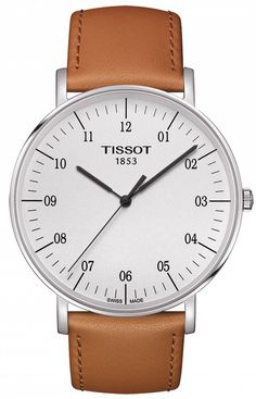 Cream-faced Tissot w/ caramel leather strap, eggshell face, 42-mm wide case (6.45mm deep), water-resistant to 30m