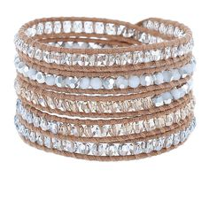 Blue Shade Crystal Mix Wrap Bracelet on Beige Leather - Chan Luu