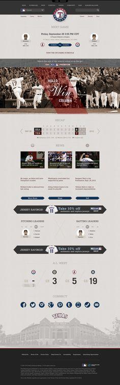 Unique Web Design, Texas Rangers #WebDesign #Design (http://www.pinterest.com/aldenchong/)