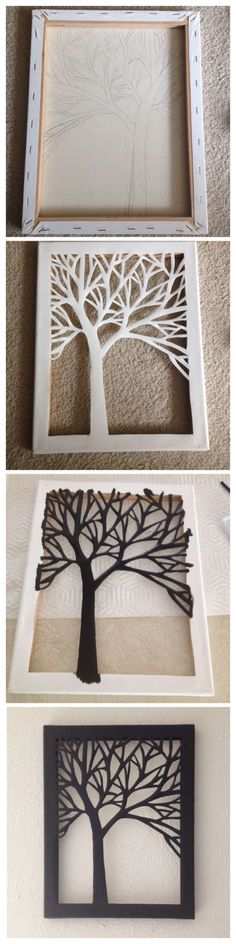 DIY Cut Canvas Tree Art - DIY Cut Canvas Tree Art You are in the right place about diy surgical mask free pattern Here we off - Easy Crafts To Make, Fun Crafts, Diy And Crafts, Easy Diy, Arts And Crafts, Paper Crafts, Simple Diy, Diy Paper, Decor Crafts