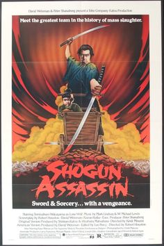A Shogun who grew paranoid as he became senile sent his ninjas to kill his samurai. They failed but did kill the samurai's wife. The samurai swore to avenge the death of his wife and roams the countryside with his toddler son in search of vengeance. 1980's Movies, Great Movies, Movies Online, Movie Film, Cult Movies, Indie Movies, Comedy Movies, Action Movies, Kendo