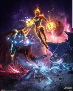 Captain marvel of the day until avengers: endgame - 174 Marvel Fanart, Marvel Comics, Marvel Vs, Marvel Heroes, The Avengers, Captain Marvel, Asgard, Die Rächer, Iron Man Captain America