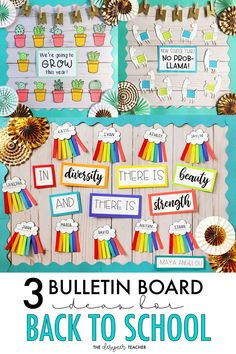 These ideas will get your hallway bulletin board looking back to school night worthy in a snap! Whether you prefer cactus, llamas, or rianbows, these boards would work for just about any subject or any grade plus they all include differentiated prep a Spanish Bulletin Boards, Hallway Bulletin Boards, Elementary Bulletin Boards, Summer Bulletin Boards, Teacher Bulletin Boards, Back To School Bulletin Boards, Elementary Schools, March Bulletin Board Ideas, Interactive Bulletin Boards