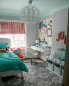 Girl room ideas information board and painted furniture