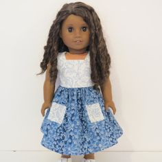 American Girl Doll Clothes  Two Toned Blue Dress by AmericAnnMade