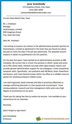 cover letter sample letter of application
