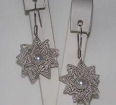 gümüş örgü yıldız çiçek küpe