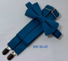 Ink Blue Suspenders and Ink Blue Bow Tie. Bridal Color Ink Blue. Sizes Infant-Adult. Free Fabric Sample Available.