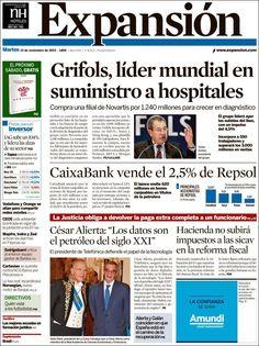 Los Titulares y Portadas de Noticias Destacadas Españolas del 12 de Noviembre de 2013 del Diario Expansión ¿Que le pareció esta Portada de este Diario Español?