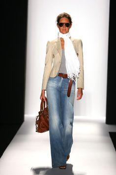 flare jeans + nude blazer + brown accessories
