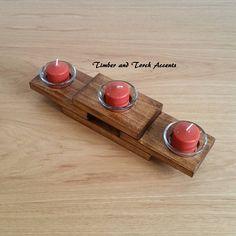Modern tea light, Wood tea light holder, Wood votive holder, Mantle centerpiece, Coffee table decor, Flameless candle, Reclaimed wood, Gift