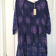 NWT stunning purple/blue boho tie front dress! Boho beautiful! Fully lined - 3 quarter sleeves - lace up top in gorgeous colors! Dresses