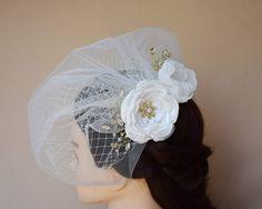 Double Birdcage Veil bridal hair flower hair clip fascinator wedding headpiece bridal hair ideas