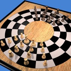 Play Circular Chess online 3D or 2D http://www.jocly.com/#/play/circular-chess