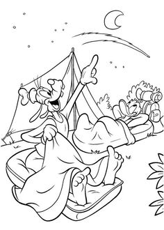 Cartoon Coloring Goofy Pages Camping With Donald Duck DuckFull Size Image