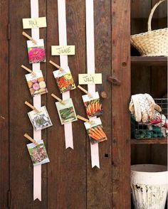 The best idea for organizing seeds by month!!! Just pin on a ribbon! Each ribbon represents a month so you know what to plant in one quick glance...
