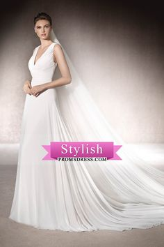 2017 A Line V Neck Ruched Bodice Chiffon With Applique Wedding Dresses