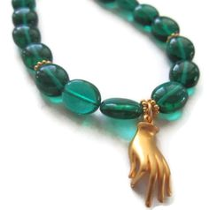 Emerald green quartz and gold mudra charm bracelet -- SOLD