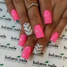 Neon pink with silver & white focus nail