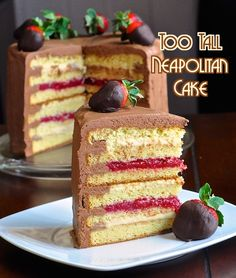 Too Tall Neapolitan Cake - Layers of vanilla cake, filled with strawberry compote and vanilla custard, then frosted with luscious chocolate buttercream frosting.