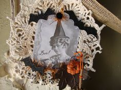 Whimsical halloween Doily garland vintage witch by PaperAndMache, $40.00