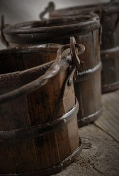 Vintage Natural Wood Brown Buckets with Iron Handles Jim Hawkins, Treasure Planet, Brown Aesthetic, Disney Aesthetic, Save On Crafts, Beige, Beauty And The Beast, Earthy, Natural Wood