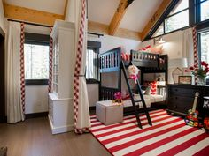 Part fun hideaway, part practical place to sleep, this kid-friendly bunkroom features soaring ceilings, bright colors and whimsical accessories.
