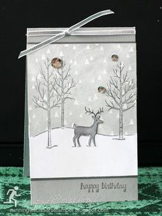 Winter Deer by RunningwScissorsStamper, Stampin Up White Christmas in gray and silver - Amazing DIY Christmas Tree Poinsettia, Christmas Deer, Christmas Themes, White Christmas, Handmade Christmas, Beautiful Christmas, Holiday Cards, Christmas Cards, Winter Birthday