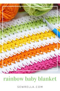 This colorful, rainbow striped baby blanket is a must-make for babies and toddlers! It's a quick crochet project with a free pattern and video tutorial for absolute beginners. Bunny Blanket, Baby Blanket Crochet, Crochet Baby, Crochet Blankets, Baby Blankets, Afghan Crochet Patterns, Baby Patterns, Knitting Patterns, Stitch Patterns
