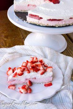 Sugar Free Low Carb Strawberry Mousse Pie- gluten free, grain free, no bake- http://sugarfreemom.com