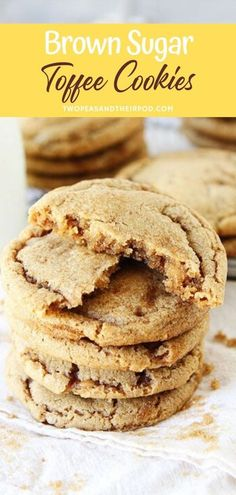 Brownie Cookies, Chocolate Chip Shortbread Cookies, Toffee Cookies, Spice Cookies, Yummy Cookies, Cookies Soft, Toffee Cookie Recipe, Chocolate Cheesecake, Toffee Bits Recipe