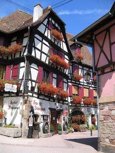 Flowered Balconies - Obernai, Alsace, France
