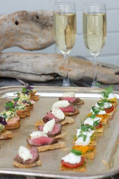 canapes and champagne on a beach, camber sands, sussex, england #wedding