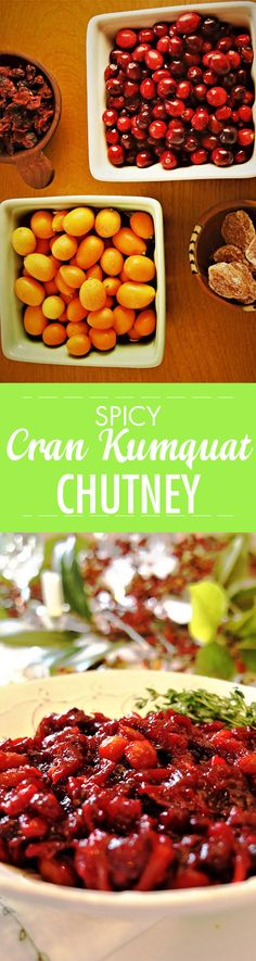 Spicy Cranberry Ginger Kumquat Chutney. Perfect topper for cheese boards, to slather on a sammy or to glaze a holiday ham. Featuring ethically sourced Frontier Co-op spices and fall fruit.
